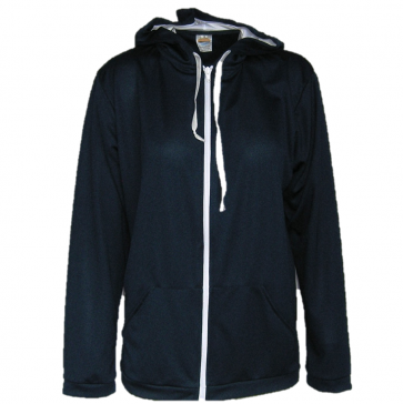 SUN PROTECTIVE HOODED JACKET. MADE IN AUSTRALIA. SOLARCOOL FABRIC. NAVY.